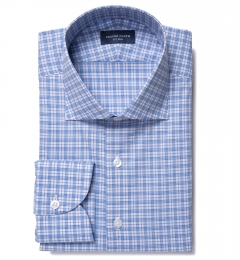Jones Light Blue and Orange Multi Check Fitted Shirt
