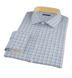 Thomas Mason Yellow Blue Check Fitted Dress Shirt