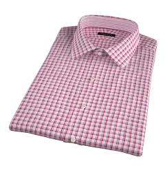 Canclini Red Blue Check Linen Short Sleeve Shirt