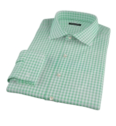 Medium Light Green Gingham Fitted Dress Shirt