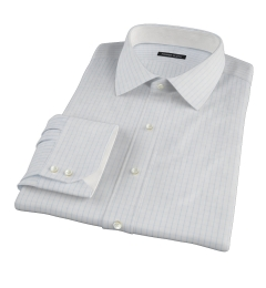 Canclini 120s Sky Blue Large Grid Men's Dress Shirt