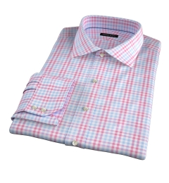Adams Red Multi Check Fitted Dress Shirt