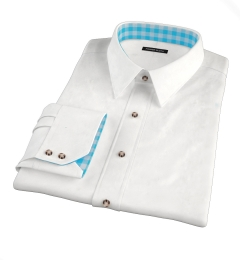 120s White Royal Herringbone Dress Shirt