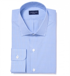 Canclini 120s Light Blue Mini Gingham Custom Made Shirt