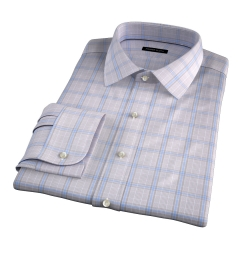 Canclini 120s Beige Prince of Wales Check Men's Dress Shirt