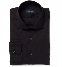 Canclini Black Stretch Broadcloth Dress Shirt