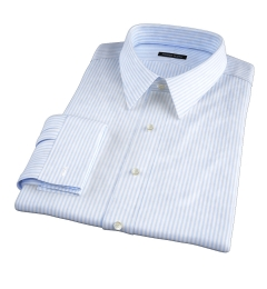 140s Light Blue Wrinkle-Resistant Bengal Stripe Custom Made Shirt
