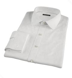 White Wrinkle Resistant Rich Herringbone Fitted Dress Shirt