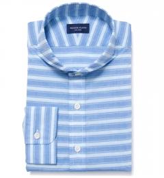 Albini Blue White Horizon Stripe Short Sleeve Shirt