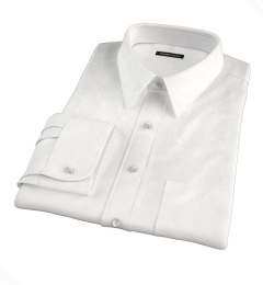 White Wrinkle-Resistant Rich Herringbone Dress Shirt