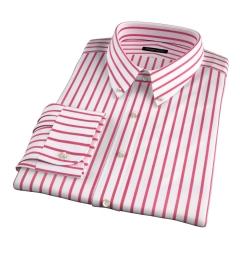 Canclini Red Wide Stripe Custom Made Shirt
