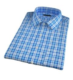 Canclini Aqua and Blue Plaid Linen Short Sleeve Shirt