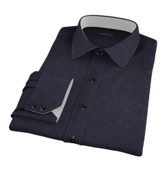 Canclini Black Stretch Broadcloth Fitted Dress Shirt