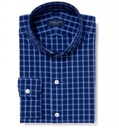 Carmine Blue on Blue Plaid Dress Shirt