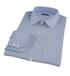 Canclini Blue Fine Twill Fitted Dress Shirt