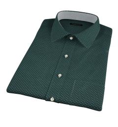 White on Green Printed Pindot Short Sleeve Shirt