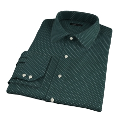 White on Green Printed Pindot Dress Shirt