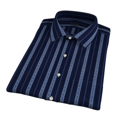 Albini Navy Folk Stripe Short Sleeve Shirt