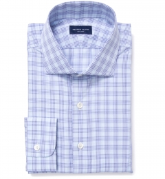 Alassio Blue End on End Check Custom Dress Shirt