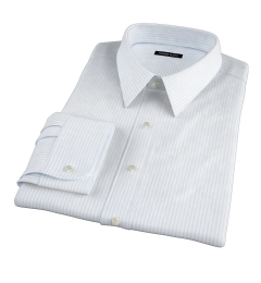 Light Blue 80s Striped Pinpoint Custom Made Shirt