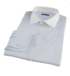 140s Light Blue Wrinkle-Resistant Stripe Dress Shirt