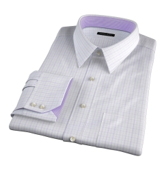 Verona Lavender 100s Border Grid Dress Shirt