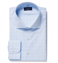 Thomas Mason Goldline Light Blue Glen Plaid Custom Made Shirt