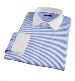 140s Navy Wrinkle-Resistant Bengal Stripe Custom Dress Shirt