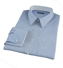 Albini Light Indigo Oxford Chambray Fitted Shirt
