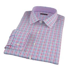 Thomas Mason Red Blue Multi Check Fitted Dress Shirt