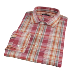 Canclini 120s Red Yellow Madras Fitted Dress Shirt