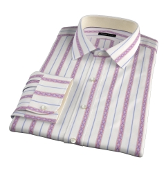 Albini Red Folk Stripe Custom Made Shirt
