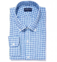 Canclini Aqua Blue Check Linen Dress Shirt