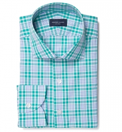 Amalfi Green and Blue Multi Check Dress Shirt