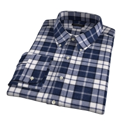 Canclini Slate Plaid Beacon Flannel Fitted Dress Shirt