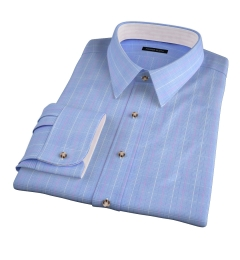 Carmine Blue Pink Prince of Wales Check Fitted Shirt