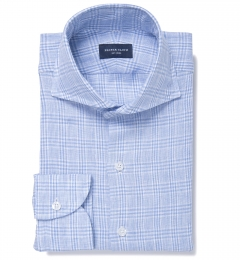 Grandi and Rubinelli Blue Glen Plaid Linen Fitted Shirt