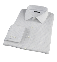 Greenwich Blue Twill Check Men's Dress Shirt