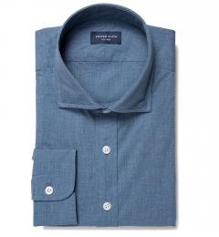 Bleecker Slate Blue Melange Fitted Dress Shirt