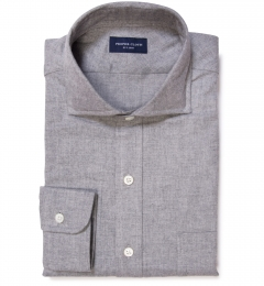 Light Grey Heathered Flannel Fitted Shirt