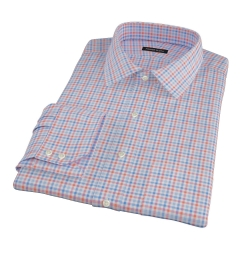 Thomas Mason Orange and Blue Check Fitted Shirt