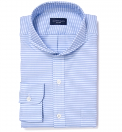 Thomas Mason Light Blue Horizontal Stripe Dress Shirt