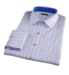 Alassio Pink End on End Check Custom Dress Shirt
