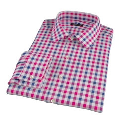 Red and Navy Large Gingham Custom Made Shirt