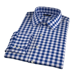 100s Royal Blue Blue Large Gingham Men's Dress Shirt