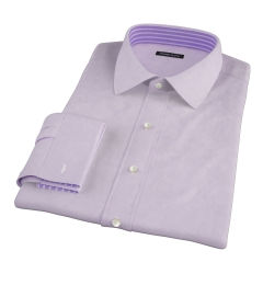 Canclini 140s Lavender Micro Check Fitted Dress Shirt