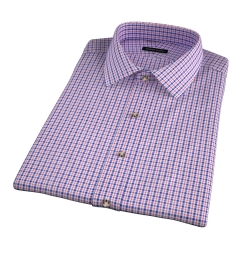 Grandi and Rubinelli 120s Red Blue Check Short Sleeve Shirt