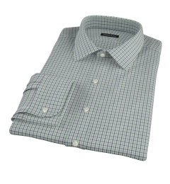 Canclini Green and Blue Multi Gingham Fitted Dress Shirt