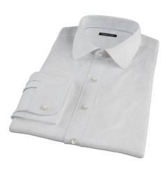 140s Light Blue Wrinkle Resistant Fine Stripe Men's Dress Shirt