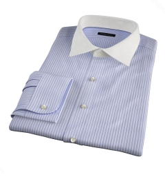 Canclini 140s Blue End-on-End Stripe Dress Shirt
